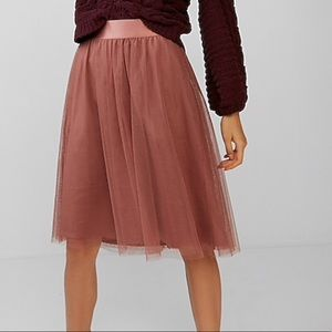 Express High Waisted Tulle Midi Skirt